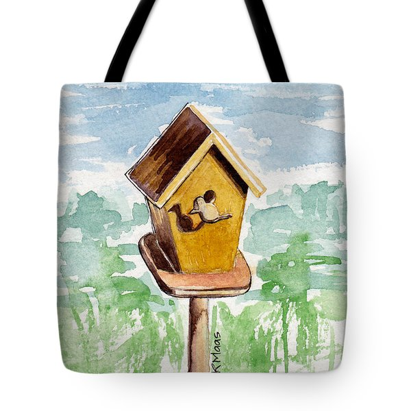 Birdhouse And Bird Of Wood Tote Bag by Julie Maas