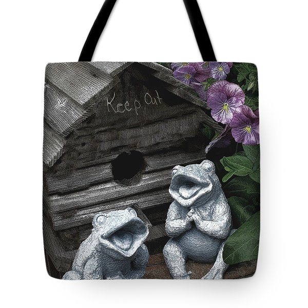 Birdhouse With Frogs Tote Bag by Bonnie Willis