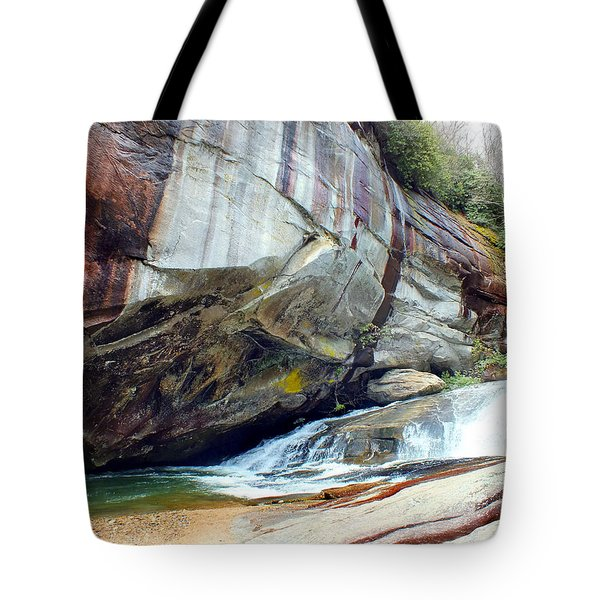 Birdrock Waterfall In Spring Tote Bag