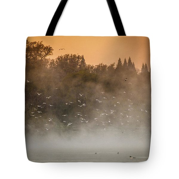 Birds And The Fog  Tote Bag