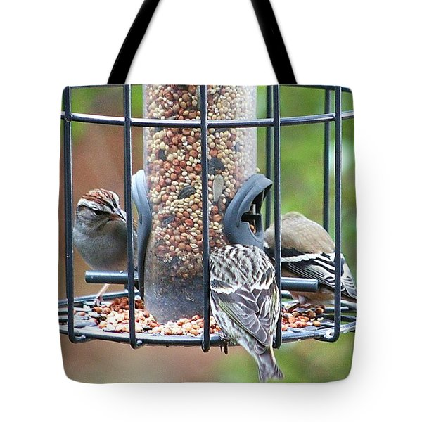 Birds At Lunch Tote Bag by Ellen O'Reilly