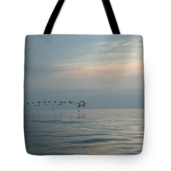Birds At Sunset In Sister Bay Tote Bag