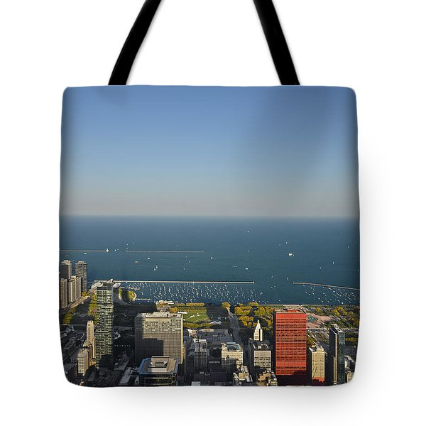Bird's Eye View Of Chicago's Lakefront Tote Bag by Christine Till