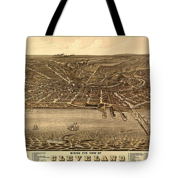 Bird's Eye View Of Cleveland Ohio 1877 Tote Bag