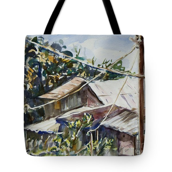 Tote Bag featuring the painting Bird's Eye View by Xueling Zou