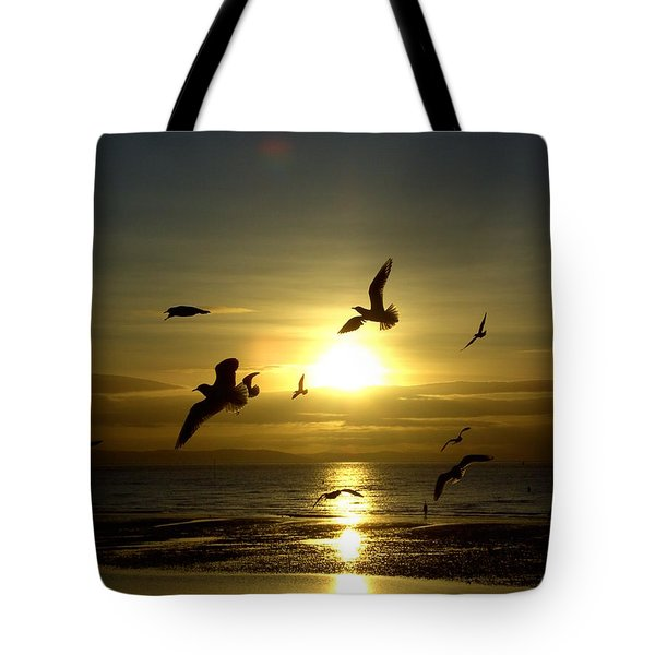 Birds Gathering At Sunset Tote Bag