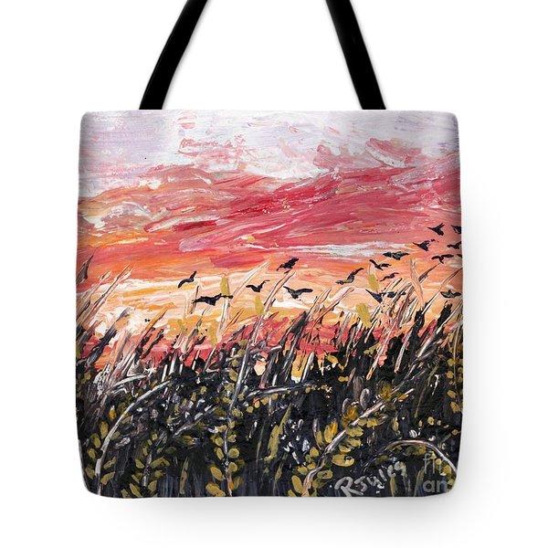 Birds In Wheatfield Tote Bag