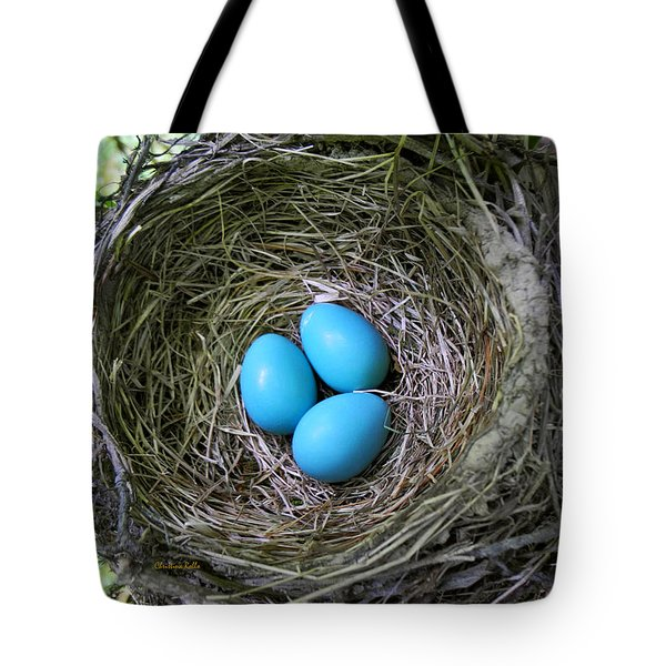 Birds Nest American Robin Tote Bag by Christina Rollo