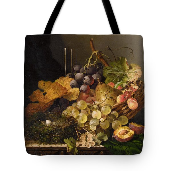 Birds Nest Butterfly And Cherries Tote Bag by Edward Ladell
