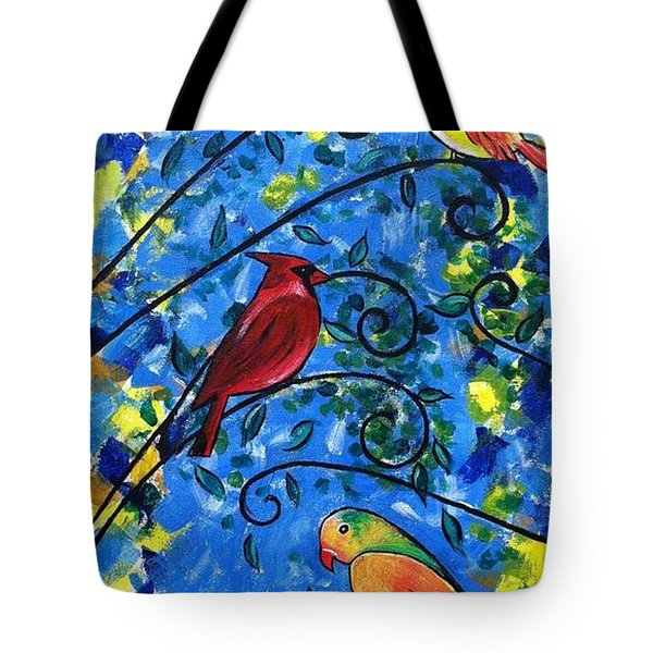 Birds Of Color Tote Bag