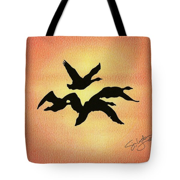 Birds Of Flight Tote Bag by Troy Levesque
