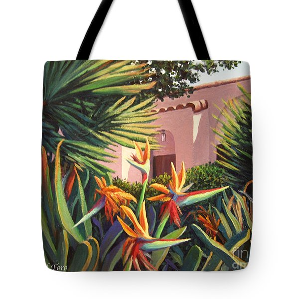 Tote Bag featuring the painting Birds Of Paradise Garden by Cheryl Del Toro