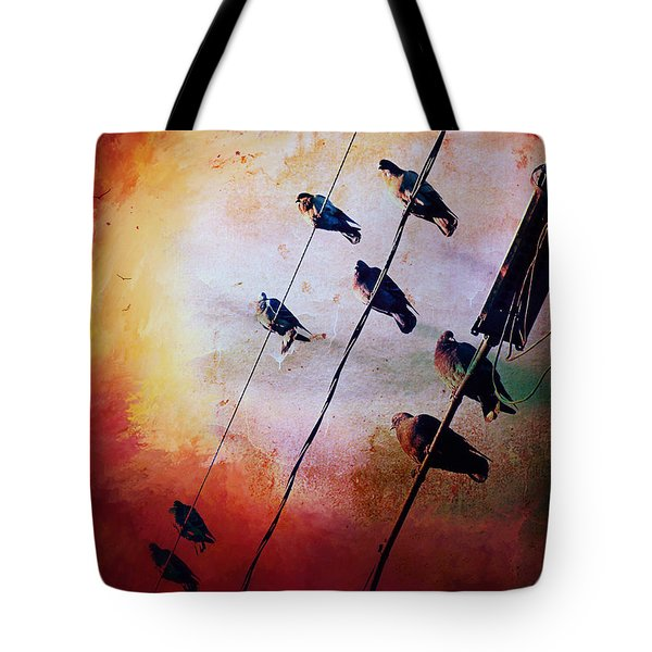 Birds On A Wire Tote Bag by Micki Findlay