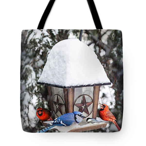Birds On Bird Feeder In Winter Tote Bag