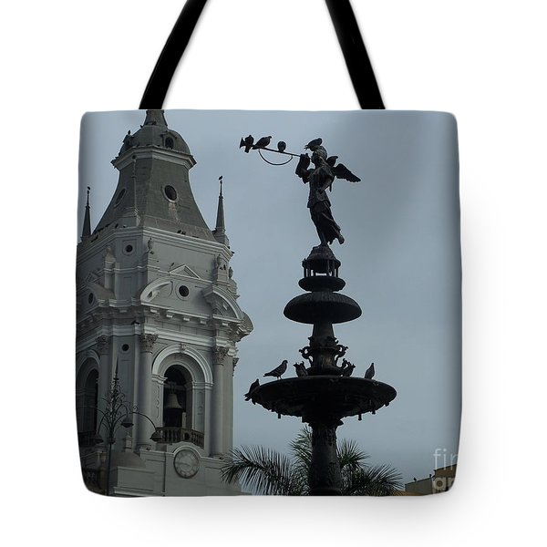 Birds On Fountain Tote Bag