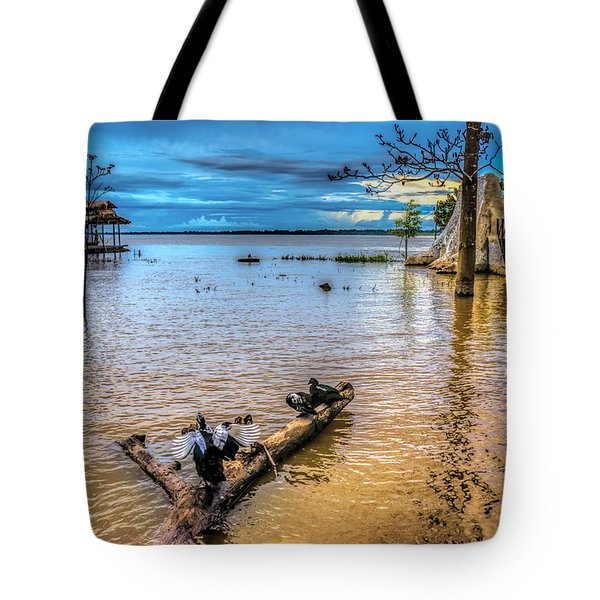 Birds On Log Tote Bag