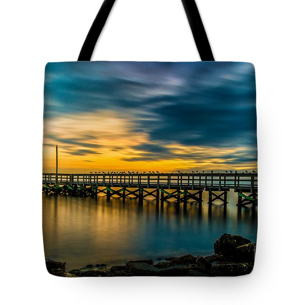Birds On The Dock Tote Bag