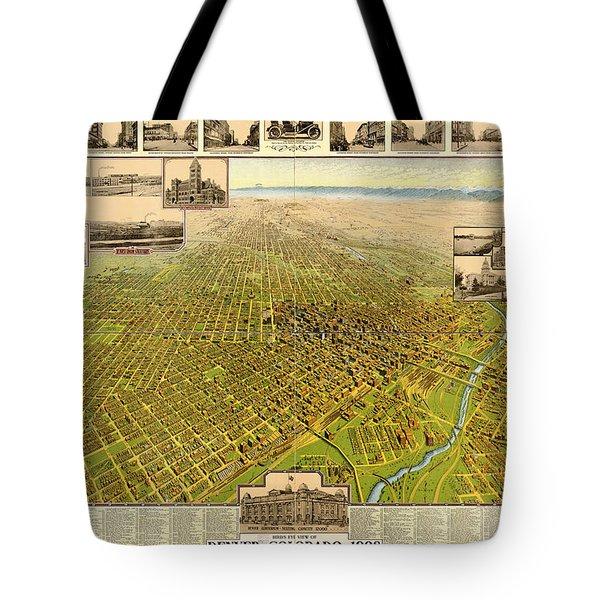 Birdseye Map Of Denver Colorado - 1908 Tote Bag by Eric Glaser