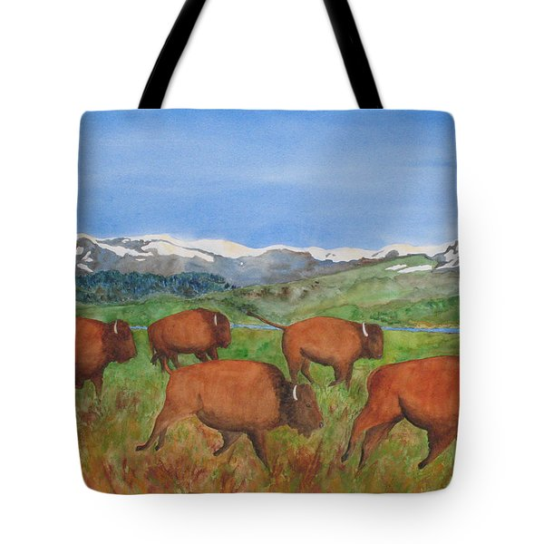 Bison At Yellowstone Tote Bag by Patricia Beebe