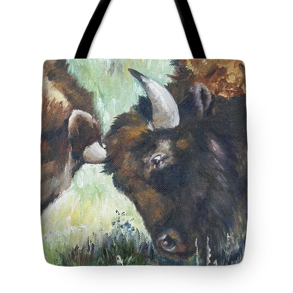 Tote Bag featuring the painting Bison Brawl by Lori Brackett