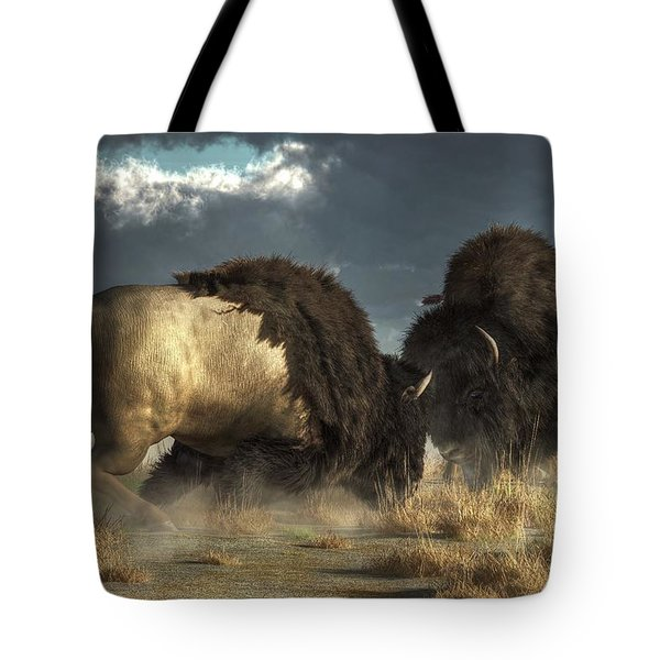 Tote Bag featuring the digital art Bison Fight by Daniel Eskridge