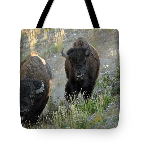 Bison On The Run Tote Bag by Bruce Gourley