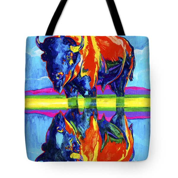 Bison Reflections Tote Bag by Derrick Higgins