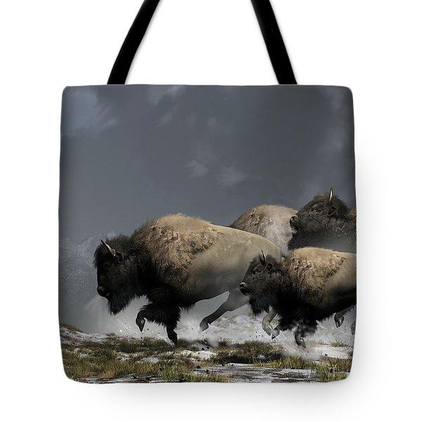 Bison Stampede Tote Bag