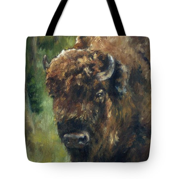 Bison Study - Zero Three Tote Bag by Lori Brackett