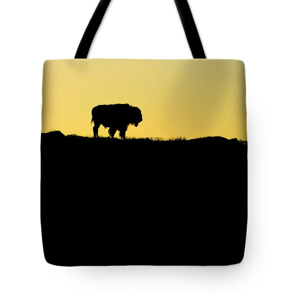 Tote Bag featuring the photograph Bison Sunrise by Sonya Lang