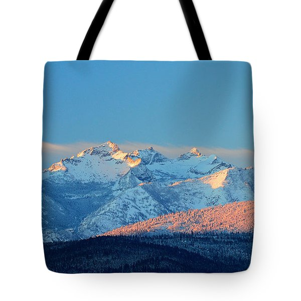 Bitterroot Mountain Morning Tote Bag by Joseph J Stevens