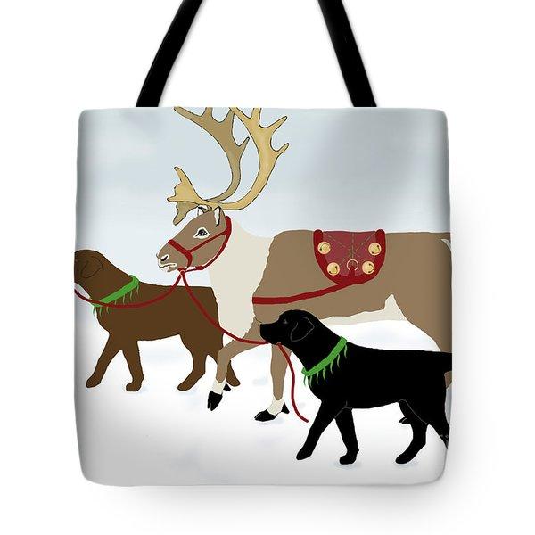 Black And Chocolate Labs Lead Reindeer Tote Bag