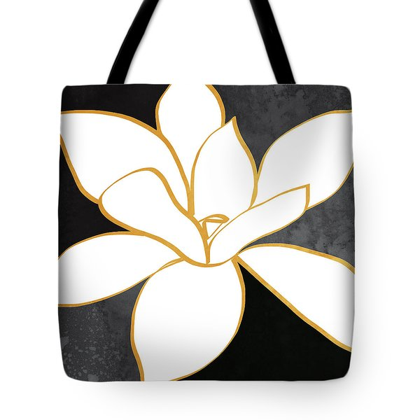 Black And Gold Magnolia- Floral Art Tote Bag