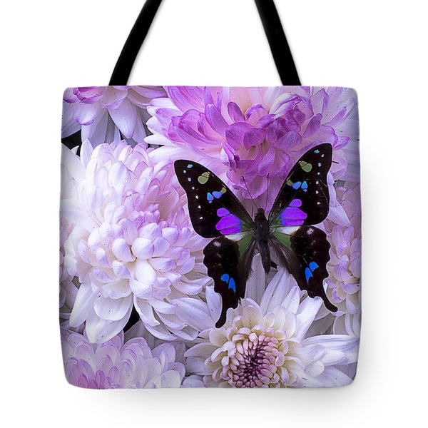 Black And Purple Butterfly On Mums Tote Bag
