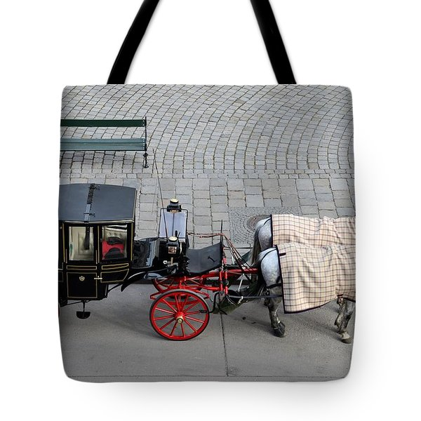 Tote Bag featuring the photograph Black And Red Horse Carriage - Vienna Austria  by Imran Ahmed