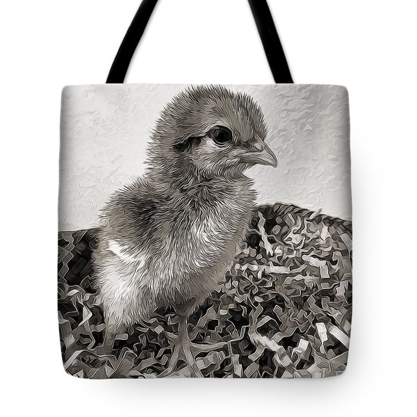 Black And White Baby Chicken Tote Bag