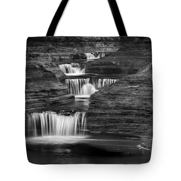 Black And White Cascade Square Tote Bag by Bill Wakeley