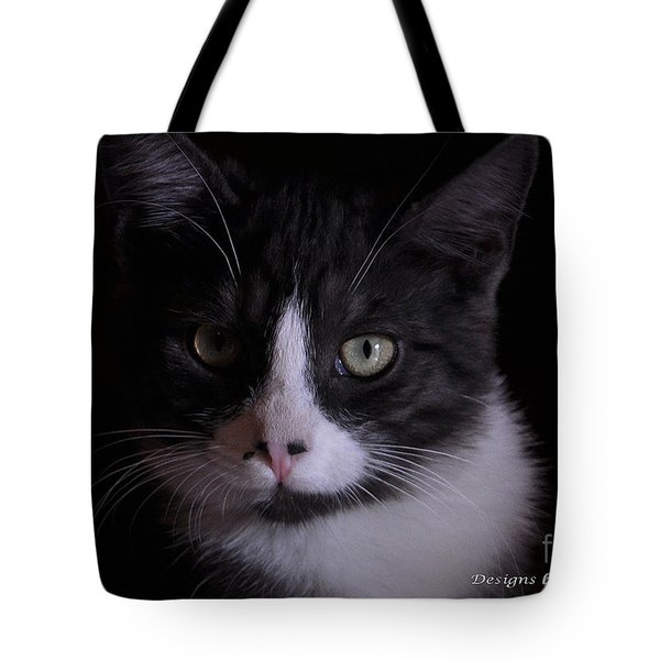Tote Bag featuring the photograph Black And White Cat by Debby Pueschel