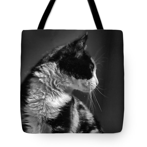 Black And White Cat In Profile  Tote Bag by Jennie Marie Schell