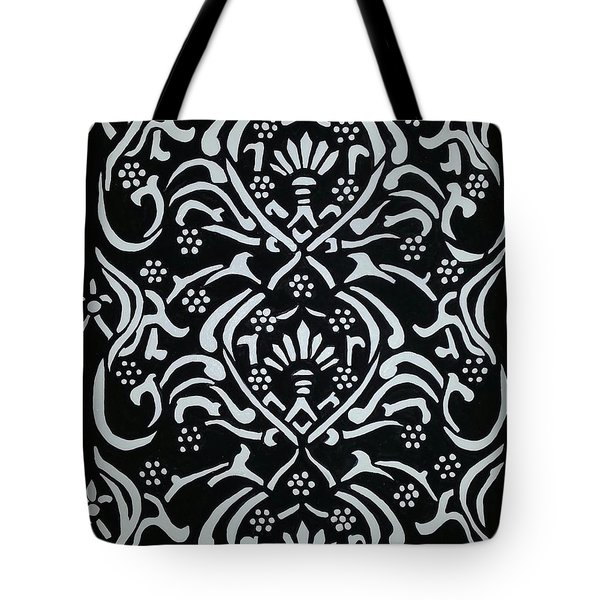 Black And White Classic Damask Tote Bag by Debra Acevedo