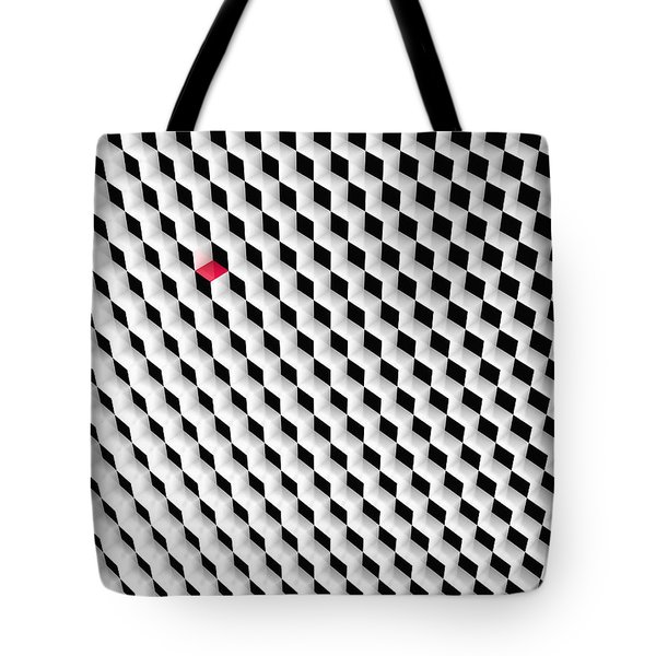 Black And White Cubes With One Red Cube. Tote Bag