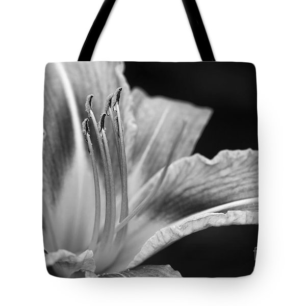 Black And White Daylily Flower Tote Bag