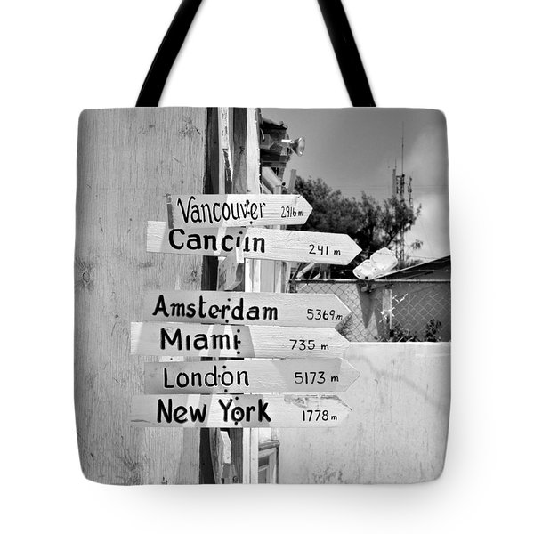 Black And White Directional Sign Tote Bag