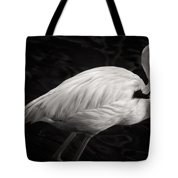 Black And White Flamingo Tote Bag by Adam Romanowicz