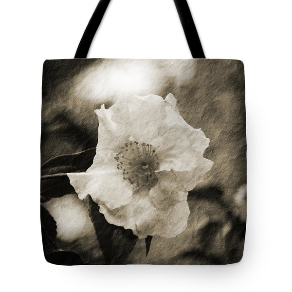 Black And White Flower With Texture Tote Bag