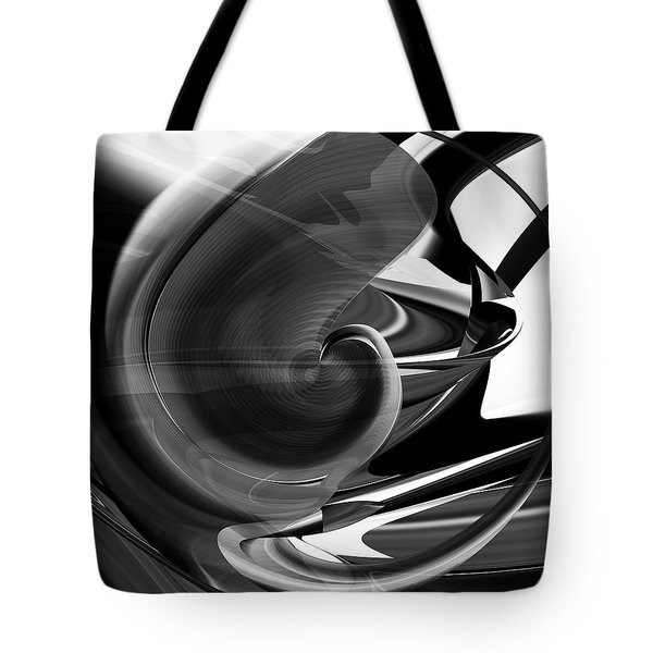 Black And White Future Abstract Tote Bag by rd Erickson