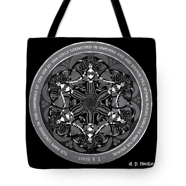 Black And White Gothic Celtic Mermaids Tote Bag