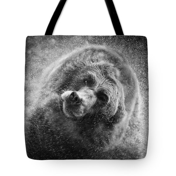 Black And White Grizzly Tote Bag by Steve McKinzie