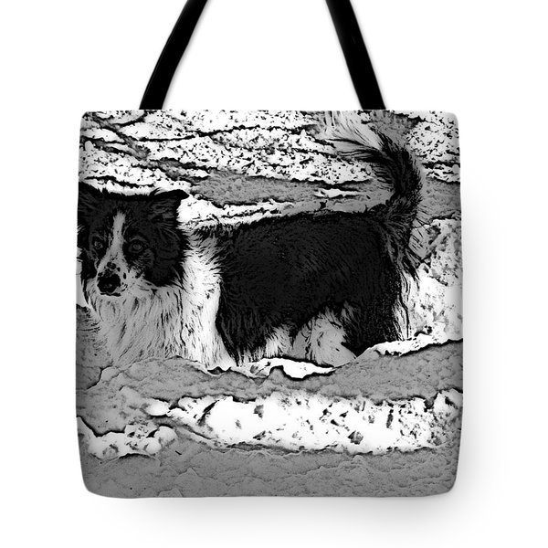 Black And White In Snow Tote Bag by Michael Porchik