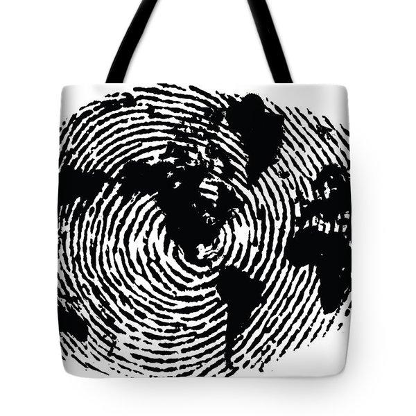 black and white ink print poster One of a Kind Global Fingerprint Tote Bag
